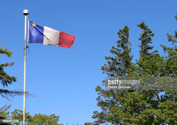 acadian flag - flag of nova scotia stock pictures, royalty-free photos & images