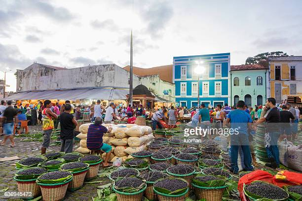 acai market in belem city - para state stock photos and pictures
