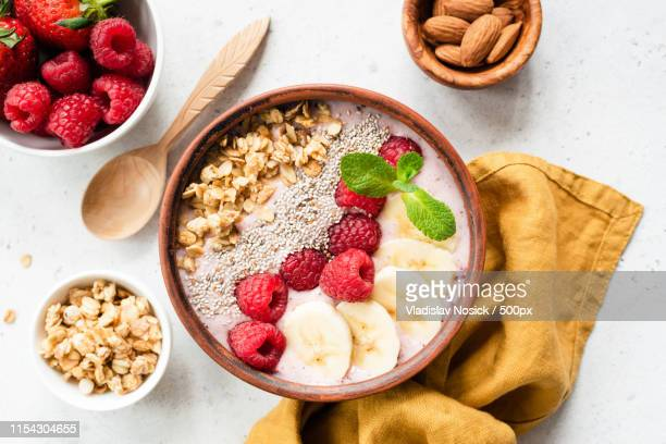 acai smoothie bowl with superfood top view - acai stock pictures, royalty-free photos & images