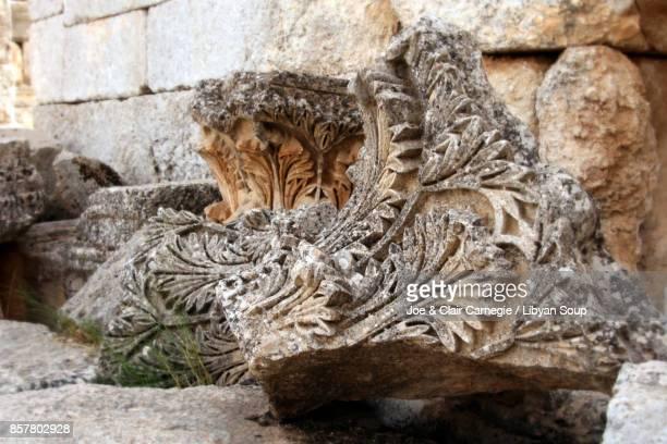 Acanthus leaf capitals at Saint Simeons, Syria.