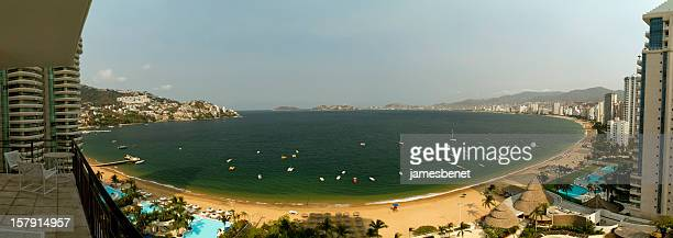 acapulco bay full panorama - acapulco stock pictures, royalty-free photos & images