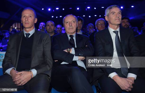 Accademy Director of FC Internazionale Juvenile Roberto Samaden CEO of FC Internazionale Giuseppe Marotta and CEO of FC Internazionale Alessandro...