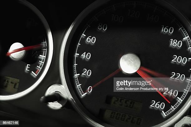 Accelerating car speedometer
