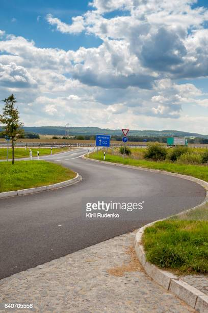 Acceleration lane from a rest station to the autobahn in Bavaria, Germany