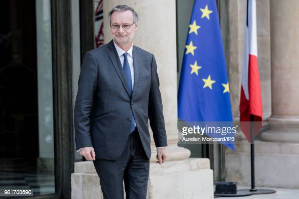 Accenture CEO Pierre Nanterme leaves after the 'Tech for Good' Summit at Elysee Palace on May 23 2018 in Paris France On the eve of VivaTech French...