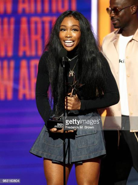 SZA accepts Best New Artist onstage at the 2018 BET Awards at Microsoft Theater on June 24 2018 in Los Angeles California
