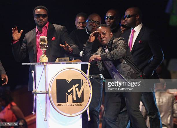 accepts the Best New Act Award at the MTV Africa Music Awards with Zain at the Moi International Sports Centre on October 10 2009 in Nairobi Kenya