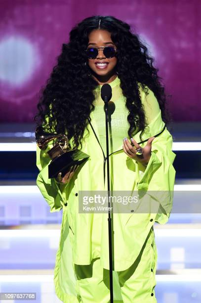 Accepts the Best R&B Album award for 'H.E.R.' onstage during the 61st Annual GRAMMY Awards at Staples Center on February 10, 2019 in Los Angeles,...