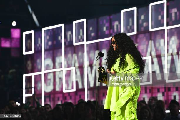 R accepts the Best RB Album award for 'HER' onstage during the 61st Annual GRAMMY Awards at Staples Center on February 10 2019 in Los Angeles...