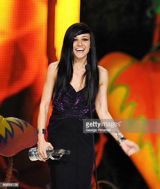 LIGHTS accepts the Juno Award for New Artist of the Year during the 2009 Juno Awards at General Motors Place on March 29 2009 in Vancouver Canada