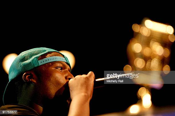 HHP accepts the trophy for Best Video at the MTV Africa Music Awards with Zain at the Moi International Sports Centre on October 10 2009 in Nairobi...