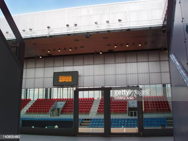Acces to one of the small tennis courts of the Magic Box the sports complex for tennis which was designed by French architect Dominique Perrault is...
