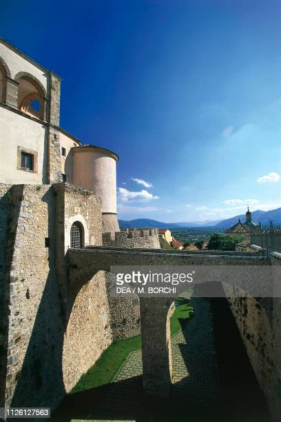 Access bridge to Pandone castle, Venafro, Molise, Italy, 10th-16th century.