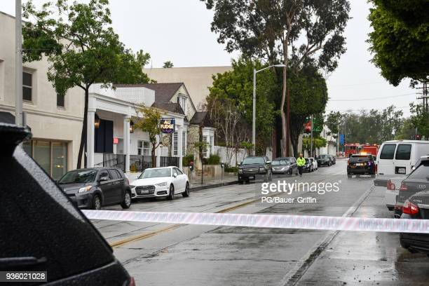 Access to Jessica Biel's restaurant Au Fudge on Melrose Ave was closed due to a downed electrical line on March 21 2018 in Los Angeles California