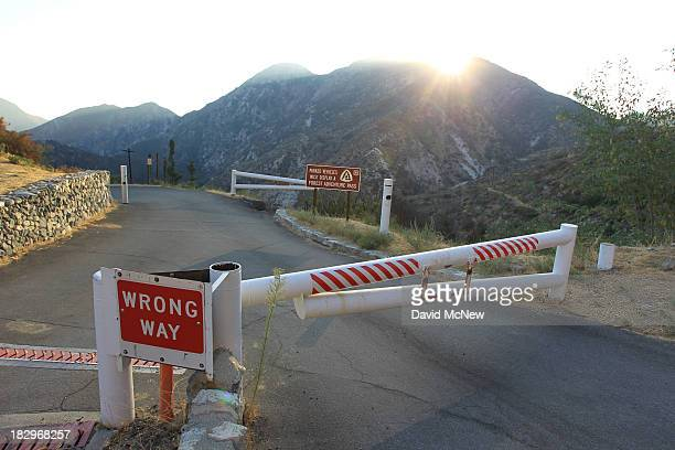 Access to Switzer Picnic Area is blocked by a locked gate in the Angeles National Forest on October 2 2013 in the San Gabriel Mountains northeast of...