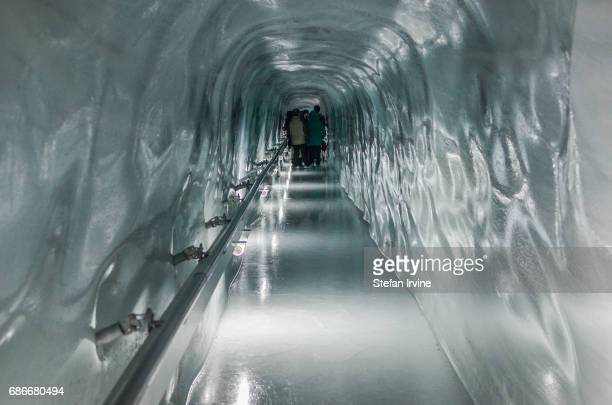 Access to the ice palace is through a long slippery tunnel which cuts its way through the solid ice of the Aletsch glacier