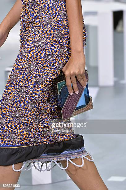 Accessories a bag detail on the runway at the Mary Katrantzou Spring Summer 2017 fashion show during London Fashion Week on September 18 2016 in...