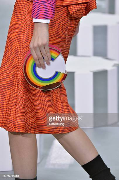 Accessories a bag detail on the runway at the Mary Katrantzou Spring Summer 2017 fashion show during London Fashion Week on September 18, 2016 in...