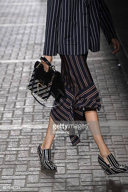 Accessories a bag detail on the runway at the Mulberry Spring Summer 2017 fashion show during London Fashion Week on September 18 2016 in London...