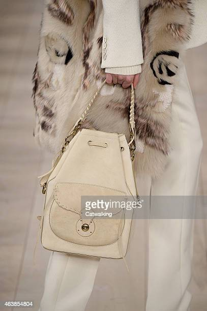 Accessories a handbag detail on the runway at the Ralph Lauren Autumn Winter 2015 fashion show during New York Fashion Week on February 19 2015 in...