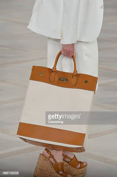 Accessories, a handbag detail on the runway at the Ralph Lauren Spring Summer 2016 fashion show during New York Fashion Week on September 17, 2015 in...