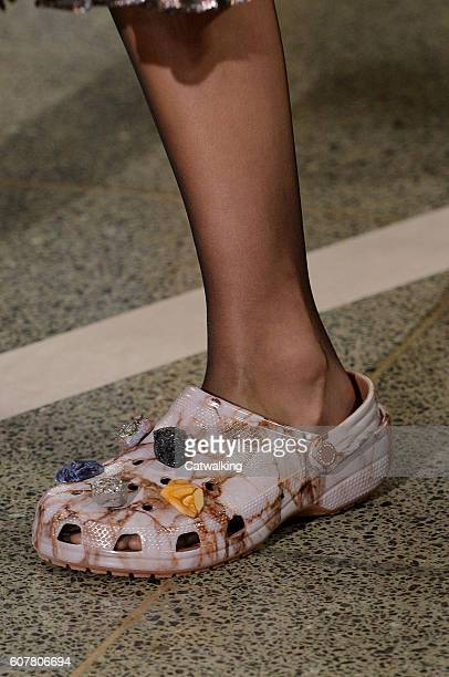 Accessories a shoe detail on the runway at the Christopher Kane Spring Summer 2017 fashion show during London Fashion Week on September 19 2016 in...
