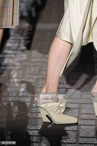 Accessories a shoe detail on the runway at the Mulberry Spring Summer 2017 fashion show during London Fashion Week on September 18 2016 in London...