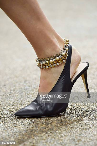 Accessories a shoe detail on the runway at the Topshop Unique Spring Summer 2017 fashion show during London Fashion Week on September 18 2016 in...