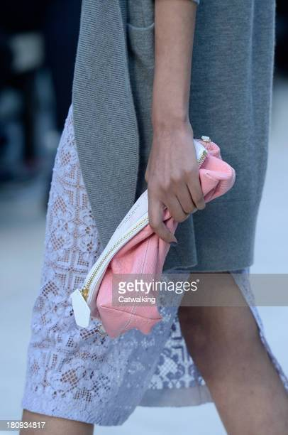 Accessories bag detail on runway at the Burberry Prorsum Spring Summer 2014 fashion show during London Fashion Week on September 16, 2013 in London,...