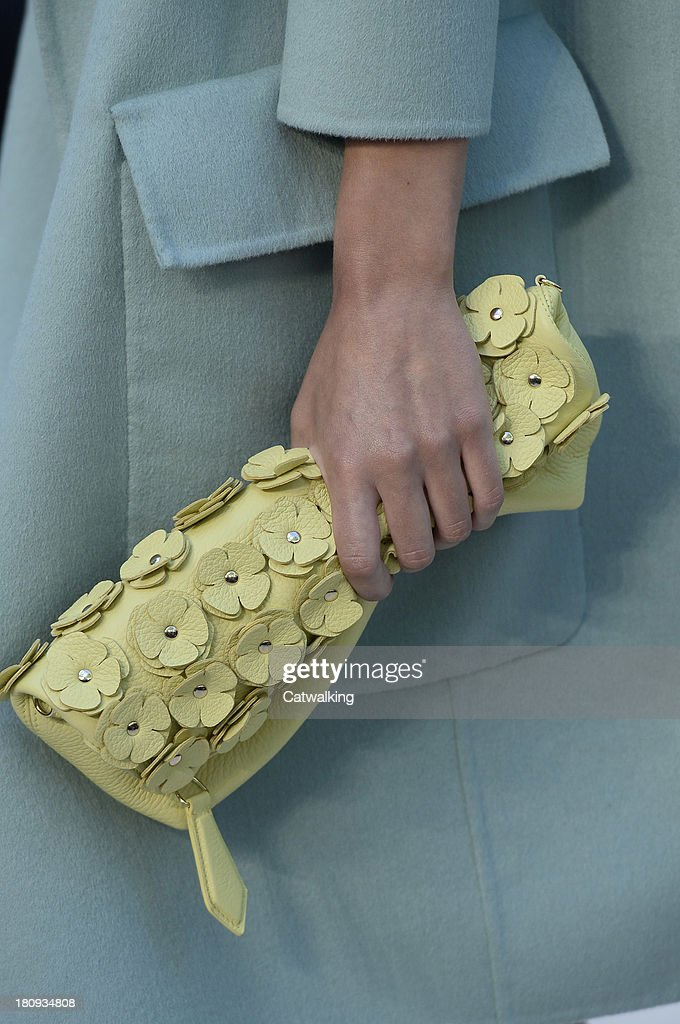 Accessories bag detail on the runway at the Burberry Prorsum Spring Summer 2014 fashion show during London Fashion Week on September 16, 2013 in London, United Kingdom.