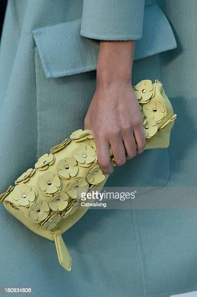 Accessories bag detail on the runway at the Burberry Prorsum Spring Summer 2014 fashion show during London Fashion Week on September 16, 2013 in...