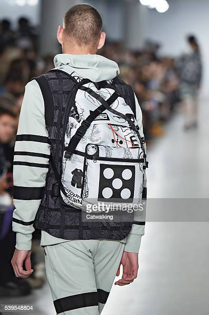 Accessories bag detail on the runway at the Christopher Raeburn Spring Summer 2017 fashion show during London Menswear Fashion Week on June 12, 2016...