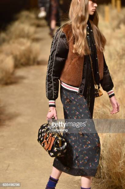 Accessories bag detail on the runway at the Coach Autumn Winter 2017 fashion show during New York Fashion Week on February 14, 2017 in New York,...