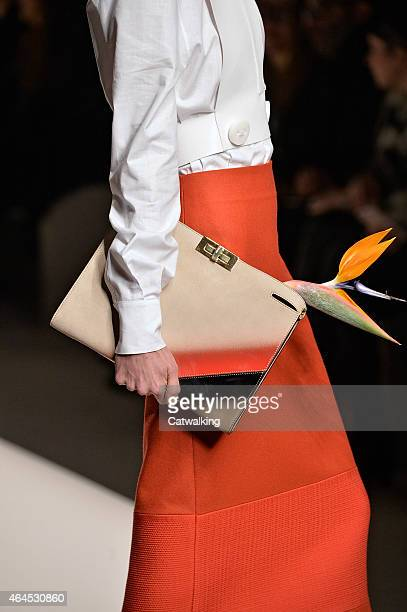 Accessories bag detail on the runway at the Fendi Autumn Winter 2015 fashion show during Milan Fashion Week on February 26 2015 in Milan Italy