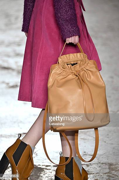 Accessories bag detail on the runway at the Gabriele Colangelo Autumn Winter 2015 fashion show during Milan Fashion Week on February 28 2015 in Milan...