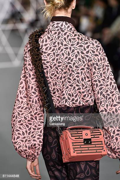 Accessories bag detail on the runway at the Holly Fulton Autumn Winter 2016 fashion show during London Fashion Week on February 20 2016 in London...