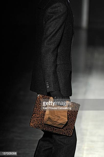 Accessories bag detail on the runway at the Jil Sander Autumn Winter 2012 fashion show during Milan Menswear Fashion Week on January 14 2012 in Milan...