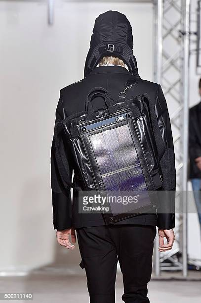 Accessories bag detail on the runway at the Junya Watanabe Autumn Winter 2016 fashion show during Paris Menswear Fashion Week on January 22, 2016 in...
