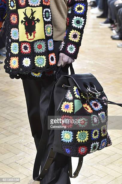 Accessories bag detail on the runway at the JWAnderson Autumn Winter 2017 fashion show during London Menswear Fashion Week on January 8 2017 in...