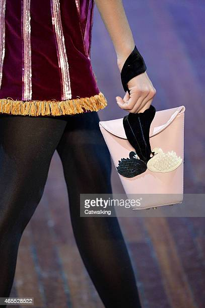Accessories bag detail on the runway at the Olympia Le Tan Autumn Winter 2015 fashion show during Paris Fashion Week on March 7, 2015 in Paris,...