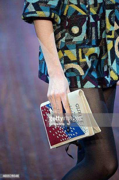 Accessories bag detail on the runway at the Olympia Le Tan Autumn Winter 2015 fashion show during Paris Fashion Week on March 7 2015 in Paris France