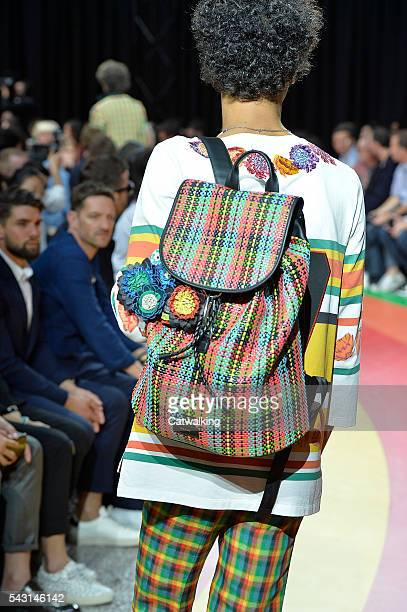 Accessories bag detail on the runway at the Paul Smith Spring Summer 2017 fashion show during Paris Menswear Fashion Week on June 26, 2016 in Paris,...