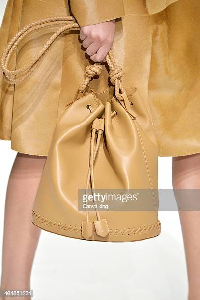 Accessories bag detail on the runway at the Sportmax Autumn Winter 2015 fashion show during Milan Fashion Week on February 27 2015 in Milan Italy