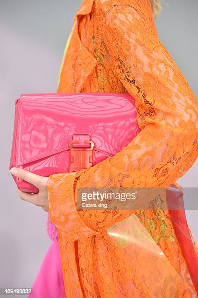 Accessories bag details on the runway at the Christopher Kane Spring Summer 2016 fashion show during London Fashion Week on September 21 2015 in...