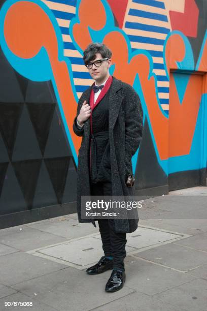 Accessories deisgner Rory Hutton wears a Rory Hutton bow tie Comme des Garcons jacket Cos trousers vintage silk kimono jacket and shoes Tom Ford...