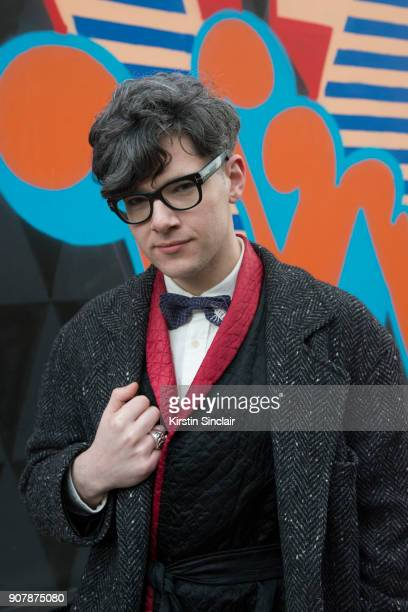 Accessories deisgner Rory Hutton wears a Rory Hutton bow tie Comme des Garcons jacket vintage silk kimono jacket Tom Ford glasses Uniqlo shirt day 1...