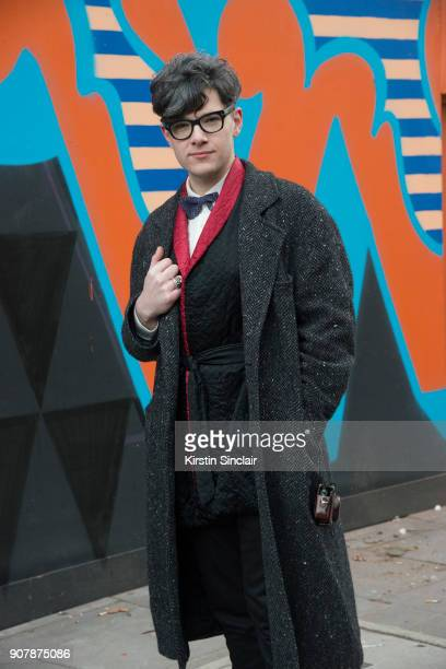 Accessories deisgner Rory Hutton wears a Rory Hutton bow tie Comme des Garcons jacket Cos trousers vintage silk kimono jacket Tom Ford glasses Uniqlo...