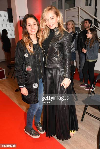 Accessories designer Angelina Ober and daughter Maeva attend Georges Bedran Fashion Show at Espace Batignolles on April 1 2017 in Paris France