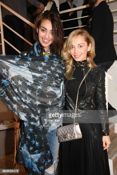 Accessories designer Angelina Ober and model Rahma Akli attend Georges Bedran Fashion Show at Espace Batignolles on April 1 2017 in Paris France