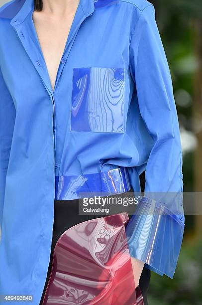 Accessories detail on the runway at the Christopher Kane Spring Summer 2016 fashion show during London Fashion Week on September 21 2015 in London...